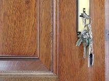 Tasten auf der Tür Stockfoto