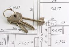 Tasten auf einem Plan der Wohnung Stockfoto