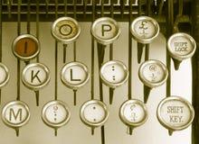 Tasten auf einer alten Schreibmaschine Stockbilder