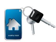 Tasten mit blauem keyholder Stockbild