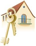 Tasten, neues Haus, Grundstück. Vektor Lizenzfreies Stockbild