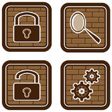 Tasten und Ikonen für das Internet auf einem Ziegelstein-BAC Lizenzfreie Stockbilder