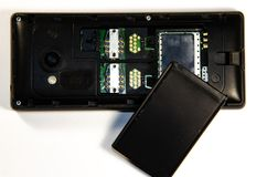 Tastentelefon, analysierend, SIM-Karte, codierte Karte stockfoto