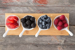 Taster dishes of assorted autumn berries. Viewed from above arranged on a wooden board on a rustic, kitchen table including whole fresh blueberries Royalty Free Stock Images