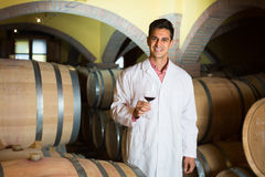 Taster of winery posing with wine Royalty Free Stock Images