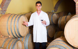 Taster of winery posing with wine Royalty Free Stock Photos