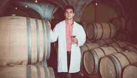 Taster of winery posing with wine Royalty Free Stock Image