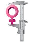 Tasterzirkel misst weibliches Zeichen Lizenzfreie Stockbilder