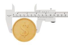 Tasterzirkel mit abstrakter goldener Dollar-Münze Wiedergabe 3d Lizenzfreies Stockfoto