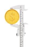 Tasterzirkel mit abstrakter goldener Dollar-Münze Wiedergabe 3d Lizenzfreie Stockbilder