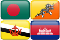 Tasti asiatici della bandierina: La Bangladesh, Bhutan, Brunei Dar Fotografia Stock