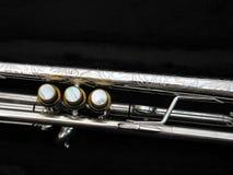 Tasti d'argento della barretta della tromba Fotografie Stock