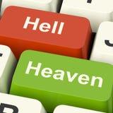 Tasti del computer dell'inferno di cielo che mostrano scelta fra il bene e male O fotografie stock