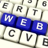 Tasti del computer di web che mostrano i siti Web o Internet online Fotografia Stock