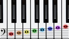 Tasti del piano, clef basso sulla doga con le note colorate Fotografie Stock Libere da Diritti