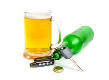 Tasti dell'automobile e della birra Fotografia Stock