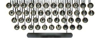 Tasti della macchina da scrivere, bianco isolato tastiera dell'annata Fotografia Stock Libera da Diritti