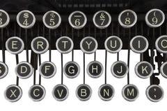 Tasti della macchina da scrivere dell'annata isolati Fotografia Stock