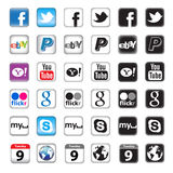 Tasti di Apps per rete sociale Fotografia Stock