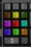 Tasti di chiamata online variopinti su una tastiera normale Immagini Stock