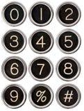 Tasti di numero della macchina da scrivere dell'annata Immagini Stock