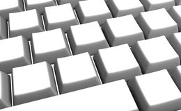 Tasti di tastiera bianchi in bianco Immagine Stock Libera da Diritti
