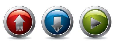 Tasti di Upload, di trasferimento dal sistema centrale verso i satelliti & del gioco Immagine Stock Libera da Diritti