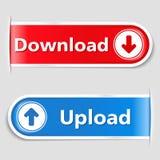 Tasti di Upload e di trasferimento dal sistema centrale verso i satelliti Fotografie Stock Libere da Diritti