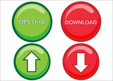 Tasti di Web trasferimento dal sistema centrale verso i satelliti/di Upload Fotografia Stock