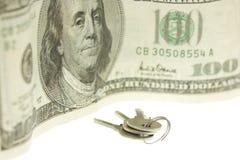 Tasti e cento dollari di fattura Immagine Stock Libera da Diritti