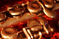 Tasti e leve sullo strumento d'ottone Fotografie Stock Libere da Diritti