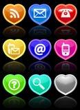 Tasti lucidi di comunicazione impostati. Fotografia Stock
