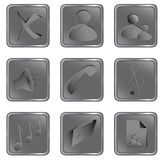 Tasti quadrati grigi di Web di vettore Fotografie Stock