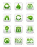 Tasti quadrati lucidi verdi impostati Immagine Stock Libera da Diritti
