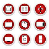 Tasti rossi con l'icona 9 Fotografie Stock