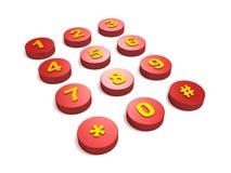 Tasti rossi del tasto del telefono Fotografia Stock Libera da Diritti