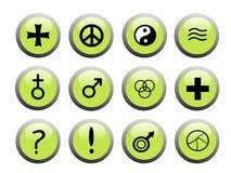 Tasti verdi dell'icona Fotografie Stock Libere da Diritti