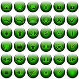 Tasti verdi di Web impostati Fotografie Stock Libere da Diritti