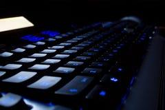 Tastiera al neon blu Fotografia Stock Libera da Diritti