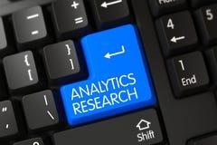 Tastiera blu di ricerca di analisi dei dati sulla tastiera 3d Immagine Stock