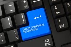 Tastiera blu di tecnologia di computazione della nuvola sulla tastiera 3d Fotografia Stock