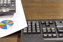 Tastiera, calcolatore e carta di rapporto Immagine Stock Libera da Diritti