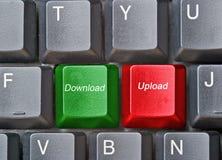 Tastiera con i tasti caldi per il upload ed il trasferimento dal sistema centrale verso i satelliti fotografia stock