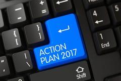 Tastiera con il bottone blu - piano d'azione 2017 3d Fotografia Stock Libera da Diritti