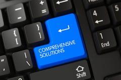 Tastiera con il bottone blu - soluzioni complete 3d illustrazione vettoriale