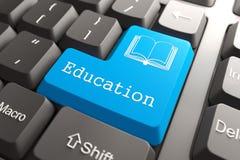 Tastiera con il bottone di istruzione. Fotografie Stock
