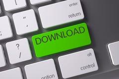 Tastiera con il bottone verde - download 3d Immagini Stock