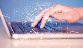 Tastiera con il grafico alta tecnologia dell'interfaccia utente Fotografia Stock