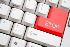 Tastiera con il tasto di arresto rosso Fotografie Stock Libere da Diritti