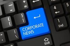 Tastiera con la chiave blu - notizie corporative 3d Fotografia Stock